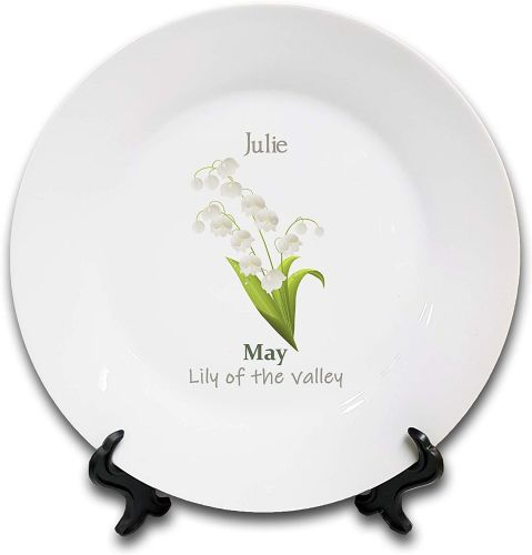 Personalised Flower of The Month May Novelty Gift Ceramic Plate & Stand